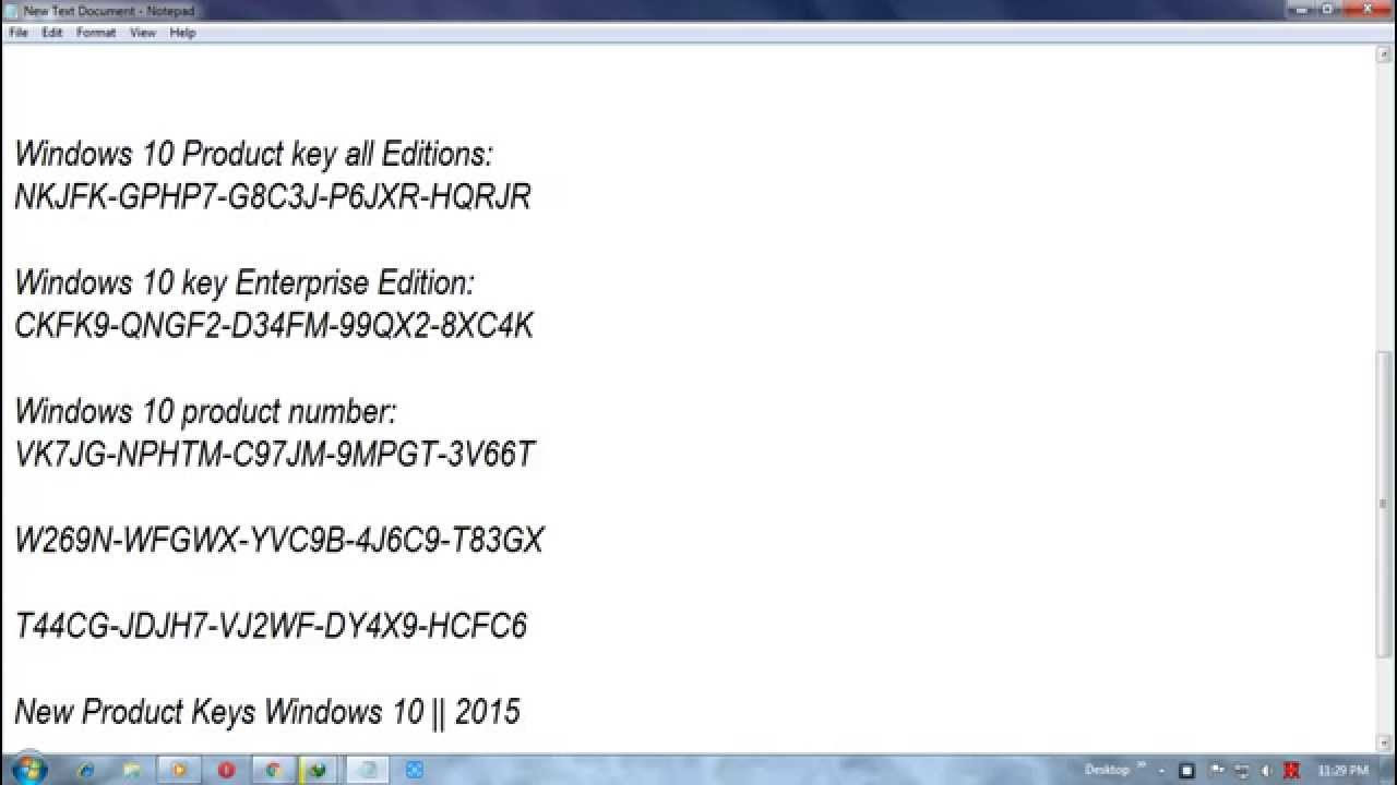 Free Windows 10 Product Key