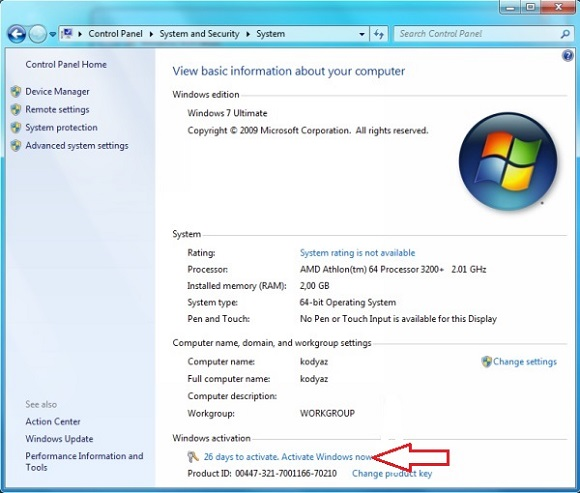 windows 7 64 bit professional key activation