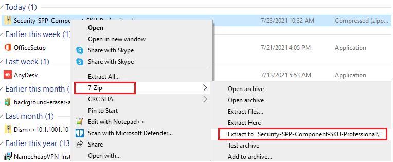 Extract Windows 7 Pro sku