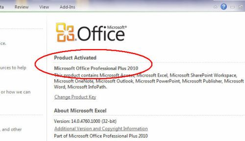 view microsoft office product key 2010