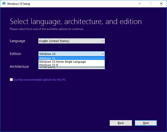 Edition Windows 10
