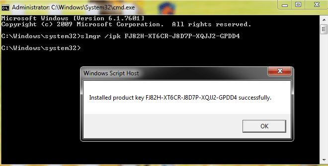 install Windows 7 Professional key