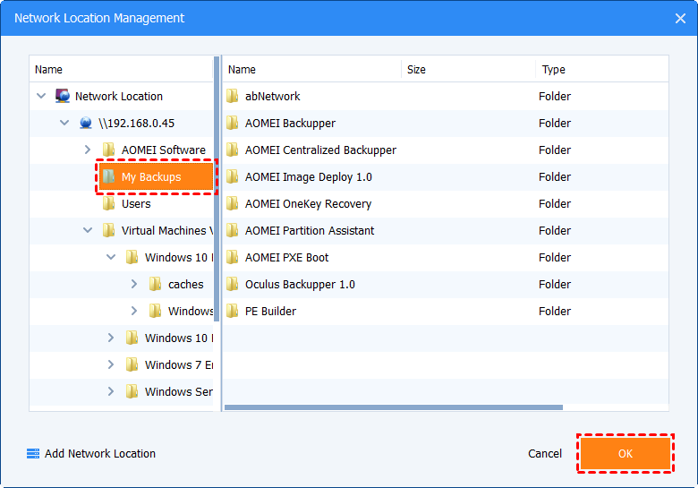 Choose a folder in the network path to store the backup image