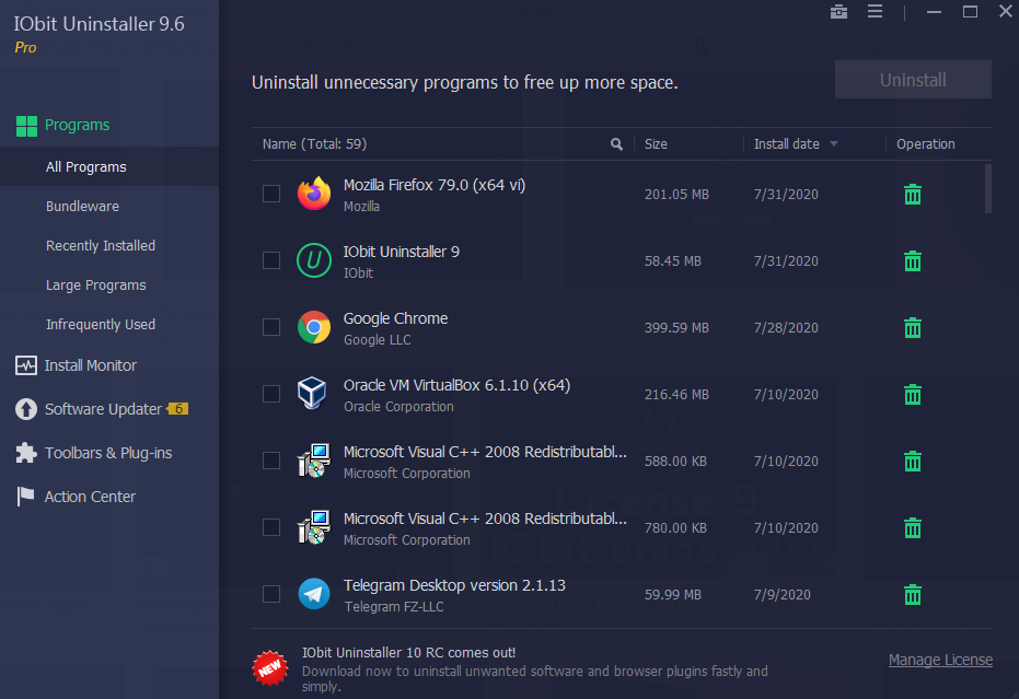 IObit Uninstaller 9.6 Key Free 2020
